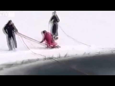 فيديو: فتاة صينية تحاول الانتحار بإلقاء نفسها في بحيرة متجمدة