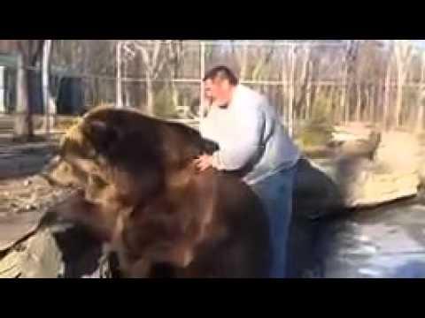 بالفيديو.. روسي ودب ضخم يقعان في علاقة حب!