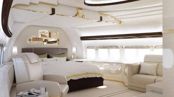 غرفة نوم فاخرة بالطائرة المهداة